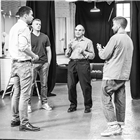 David Suchet, Jamie Lloyd, Russell Tovey and John Macmillan in rehearsals for Pinter at the Pinter - The Lover/ The Collection at the Harold Pinter Theatre. Photo Credit: Marc Brenner.