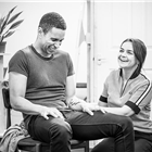 Hayley Squires and John Macmillan in rehearsals for Pinter at the Pinter - The Lover/ The Collection at the Harold Pinter Theatre. Photo Credit: Marc Brenner.