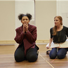 Lois Chimimba and Rosalie Craig in wonder.land rehearsals. Photo by Brinkhoff and Mogenburg