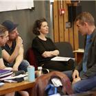 Director Rufus Norris, Music Supervisor David Shrubsole and Damon Albarn in wonder.land rehearsals. Photo by Brinkhoff and Mogenburg