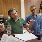 Music Supervisor David Shrubsole and Director Rufus Norris in wonder.land rehearsals. Photo by Brinkhoff and Mogenburg