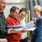 Steffan Rhodri, Phil Hill, Rosi Sheehy and Charlie Cameron in rehearsals for The Hairy Ape, London 2015. Photo by Manuel Harlan.
