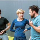 Adam Burton, Charlie Cameron and Ben Lee in rehearsals for The Hairy Ape, London 2015. Photo by Manuel Harlan.