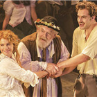 Jessie Buckley (Perdita), Jimmy Yuill (The Shepherd) and Tom Bateman (Doricles/Florizel) in The Winter�s Tale at the Garrick Theatre. Photo: Johan Persson/Kenneth Branagh Theatre Company/Garrick