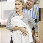 Amelia Bullmore and Jim Broadbent (Ebenezer Scrooge) in A Christmas Carol rehearsals. Photo by Marc Brenner.