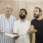 Jim Broadbent (Ebenezer Scrooge), Adeel Akhtar and Keir Charles in A Christmas Carol rehearsals. Photo by Marc Brenner.