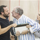 Keir Charles, Jim Broadbent (Ebenezer Scrooge) and Amelia Bullmore in A Christmas Carol rehearsals. Photo by Marc Brenner.