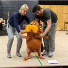 Laura Cubitt (Ensemble), Ben Thompson (Puppeteer) and Simon Lipkin (The Lorax) in Dr. Seuss's The Lorax rehearsals. Photo: Manuel Harlan
