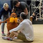 Laura Cubitt (Ensemble), Ben Thompson (Puppeteer), Simon Lipkin (The Lorax) and Simon Paisley Day (Once-Ler) in Dr. Seuss's The Lorax rehearsals. Photo: Manuel Harlan