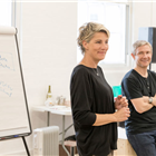 Tamsin Greig and Martin Freeman in rehearsal for Labour of Love