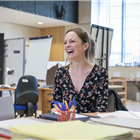 Rachael Stirling in rehearsal for Labour of Love