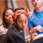 Cherrelle Skeete in rehearsal for The Seagull. Photography by Tristram Kenton
