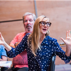 Lesley Sharp in rehearsal for The Seagull. Photography by Tristram Kenton