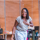 Michele Austin in rehearsal for The Seagull. Photography by Tristram Kenton