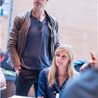 Nicholas Gleaves and Lesley Sharp in rehearsal for The Seagull. Photography by Tristram Kenton