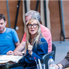 Paul Higgins Lesley Sharp in rehearsal for The Seagull. Photography by Tristram Kenton
