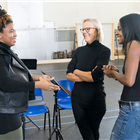 Katori Hall, Phyllida Lloyd and Adrienne Warren during rehearsals for TINA - The Tina Turner Musical. Photo Credit: Johan Persson