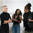 Phyllida Lloyd, Adrienne Warren and Katori Hall during rehearsals for TINA - The Tina Turner Musical. Photo Credit: Johan Persson