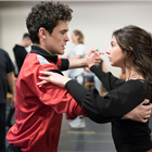 Jonny Labey and Zizi Strallen in rehearsals for Strictly Ballroom. Photo credit: Johan Persson.