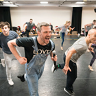 Will Young and the cast of Strictly Ballroom in rehearsals for Strictly Ballroom. Photo credit: Johan Persson.