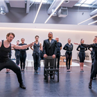 Chris Warner Drake, Cuba Gooding Jr., Sarah Soetaert and the company in rehearsals for Chicago. Photo credit: Tristram Kenton.