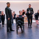 Cuba Gooding Jr., Sarah Soetaert and the company in rehearsals for Chicago. Photo credit: Tristram Kenton.