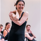Josefina Gabrielle in rehearsals for Chicago. Photo credit: Tristram Kenton.
