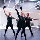 Francis Foreman, Sarah Soetaert, Todd Talbot in rehearsals for Chicago. Photo credit: Tristram Kenton.