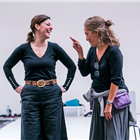 Ruthie Henshall and Tania Nardini in rehearsals for Chicago. Photo credit: Tristram Kenton.