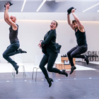 Todd Talbot, Sarah Soetaert and Francis Foreman in rehearsals for Chicago. Photo credit: Tristram Kenton.