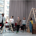 The cast of The Selfish Giant in rehearsals at the Vaudeville Theatre, London