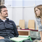 Orlando Bloom and Sophie Cookson in rehearsals for Killer Joe at Trafalgar Studios. Photo credit: Marc Brenner
