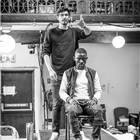 Alexander Devrient and John Pfumojena in rehearsals for The Jungle. Photo credit: Marc Brenner