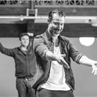 Ben Turner in rehearsals for The Jungle. Photo credit: Marc Brenner