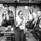 Cherno Jagne, Ben Turner, Nahel Tzegai, Sara Mokonen, Rachid Sabritri and Tiran Aakel in rehearsals for The Jungle. Photo credit: Marc Brenner