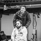 Dominic Rowan and Ammar Haj Ahmad in rehearsals for The Jungle. Photo credit: Marc Brenner