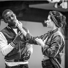John Pfumojena and Rachel Redford in rehearsals for The Jungle. Photo credit: Marc Brenner
