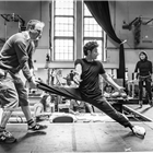 Justin Martin and Yasin Moradi in rehearsals for The Jungle. Photo credit: Marc Brenner
