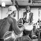 Mohammed Sarrar and John Pfumojena in rehearsals for The Jungle. Photo credit: Marc Brenner