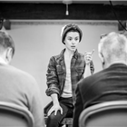 Rachel Redford in rehearsals for The Jungle. Photo credit: Marc Brenner