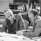 Stephen Daldry and Justin Martin in rehearsals for The Jungle. Photo credit: Marc Brenner