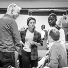 Stephen Daldry, Rachel Redford, John Pfumojena and Justin Martin in rehearsals for The Jungle. Photo credit: Marc Brenner