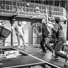 The cast in rehearsals for The Jungle. Photo credit: Marc Brenner