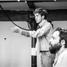 Alex Lawther and Ammar Haj Ahmad in rehearsals for The Jungle. Photo credit: Marc Brenner