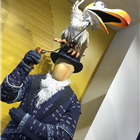 Zazu costume from The Lion King displayed at the Disney in the West End Summer Pop-up