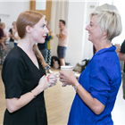 Rosalie Craig and Marianne Elliott in rehearsals for Company. Photo by Darren Bell