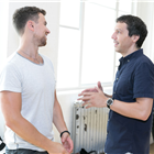 Richard Fleeshman and Alex Gaumond in rehearsals for Company. Photo by Darren Bell
