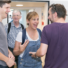 Mel Giedroyc in rehearsals for Company. Photo by Darren Bell