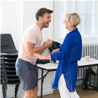 Jonathan Bailey and Marianne Elliott in rehearsals for Company. Photo by Darren Bell