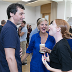 Alex Gaumond, Marianne Elliott and Rosalie Craig in rehearsals for Company. Photo by Darren Bell